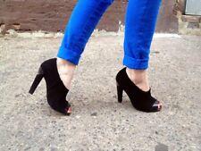 CHARLES JOURDAN Elsa Black Suede Leather Open-toe Pumps Heels SZ 6 M $245!!