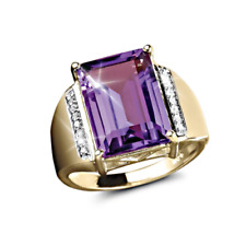 Natural Amethyst Gemstone Real Diamond Men's Ring 14K Yellow Gold