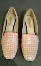 Clarks Orla Kiely pink floral shoes, UK 4D  used, surface scratches shown