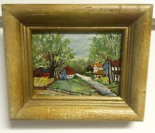"Folkart Minature Oil Painting ""Country Village"" Signed & Framed Look! Its Great"