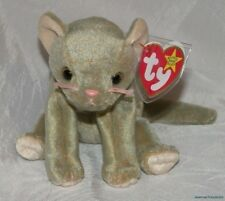 "New 1999 TY BEANIE BABIES Plush 6"" Teal SCAT The KITTY CAT w/Multiple TAG ERRORS"
