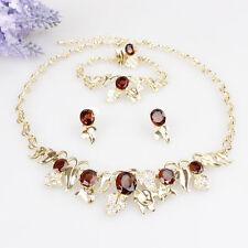 Gold Plated Crystal Leaf Topaz Gem 4 Piece Jewelry Set