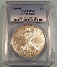 2006-W PCGS MS69 AMERICAN SILVER EAGLE MS 69 WEST POINT MINT BURNISHED ISSUE