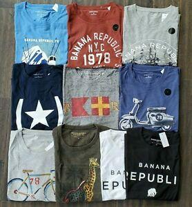 Banana Republic Mens Short Sleeve Graphic T Shirt Crew Neck New