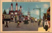 Coney Island Surf Avenue and Entrance to Luna Park New York City Linen Postcard
