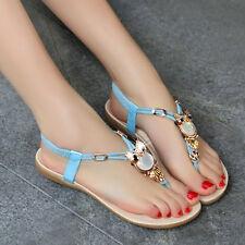 Ladies Womens Flat Owl Diamante Summer Party Comfy Toe Post Sandals Shoes Size