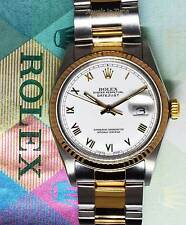 Rolex Datejust Mens 36mm Watch 18k Yellow Gold & Stainless Steel 16013