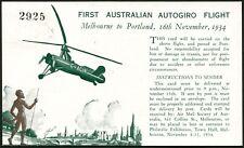 16 Nov.1934 (AAMC.461) Melb- Portland autogiro (helicopter!) flown souvenir PC