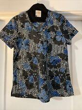 Koi Scrub top women's small print: true blue style: Leslie