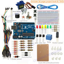 Sunfounder Uno R3 Starter Kit w/ Project Book & Acrylic For Arduino Mega R3 Nano