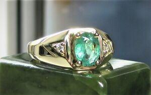 Men's Solid 14K Yellow Gold Natural Emerald Diamond Ring-New Ring Size 10