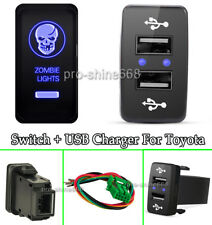 Dual USB 2 Port Charger Phone Car Blue LED Zombie Light Push Switch For Toyota