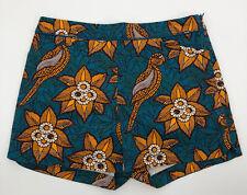 Anthropologie elevenses Bird of Paradise Batik Hawaiian Shorts Size 6 Blue Gold