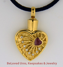Gold Double Heart With CZs Cremation Jewelry Pendant Urn, Silk Necklace & Funnel