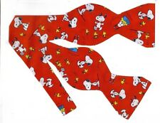 (1) SELF-TIE BOW TIE- BEST FRIENDS FOREVER!  SNOOPY & WOODSTOCK ON RED