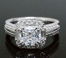 3.70 Ct. Radiant Cut & Baguette Halo Platinum Diamond Engagement Ring H,Vs1 Gia