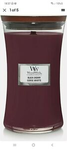 NEW🔅 Woodwick Large Hourglass Scented Candle with Crackling Wick | Black Cherry