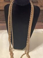 "Vintage Gold Tone Three Strands Necklace/Chain 32""-36"" long."