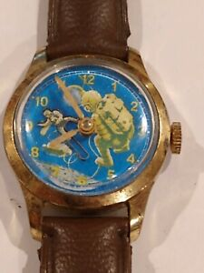 Vintage Rare Swiss Astronaut Watch Moon Landing Space Float Wristwatch Character