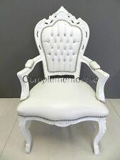 Poltrona Sedia Barocco Stile Luigi bianco panna ed eco pelle bianca con strass