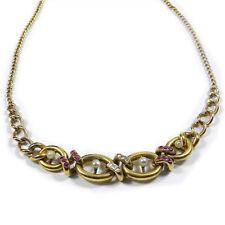 Antikes 585 Gold Collier Kette mit Rubinen Diamanten & Orientperlen um 1880