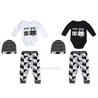 0-18M 3Pcs/Set Newborn Infant Baby Boy Girl Romper Tops+Pants+Hat Outfit Clothes