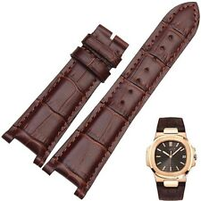 Brown Leather Strap Band fit for PP PatekPhilippe Watch Nautilus 25mm x 12mm
