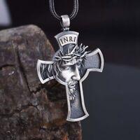 Jesus Kreuz Halskette Herren Schmuck Religiös Savior Anhänger Sehr #xk