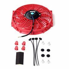 "12"" Universal Slim Fan Push Pull Electric Radiator Cooling 12V Mount Kit Red"