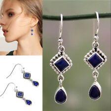 Silver Long Blue Lapis Lazuli Dangle Hook Earrings Bridal Wedding Women Jewelry