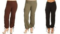 New Women's Full Length High Waisted Casual Cargo Pants Sizes 6 to 24