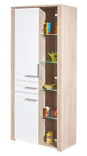 Meuble de rangement bahut buffet vitrine cuisine séjour sonoma chêne LED 3 porte