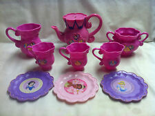Pretend Dishes-Hot Pink Tea Pot, Cream, Sugar, 3 cups and 3 saucers