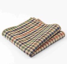 New Brown Herringbone Tweed wool Pocket Square. Great Reviews. Uk.