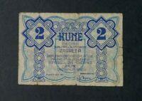 CROATIA NDH 2 Kune Banknote 1942 - Grad Zagreb Local Money