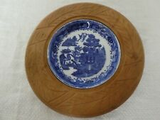 More details for lovely vintage carved wood surround english butter dish kitchenalia willow liner