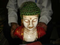 INDIA RARE  WOODEN BUDDHA PAINTED SIZE 9 '' X 8 '' X 4.1/4 ''