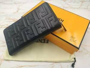 Fendi steel stamped single zipper women wallet with original box