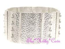 Silver Textured Aztec Roman Cleopatra Pharaoh Egyptian Tribal Slave Wide Bangle