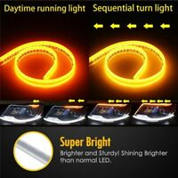 60CM Auto DRL Running Light Flexible Soft Tube Guide Car LED Strip Turn signal