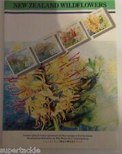 1989 NEW ZEALAND WILDFLOWERS stamp pack clover lotus monbretia wild ginger
