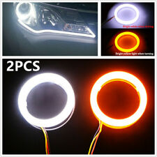 12V COB LED Car Angel Eyes Halo Lamp Ring w/ Turn Signal Light White Amber 60mm