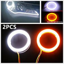 12V COB LED Car Angel Eyes Halo Lamp Ring w/ Turn Signal Light White Amber 60mm