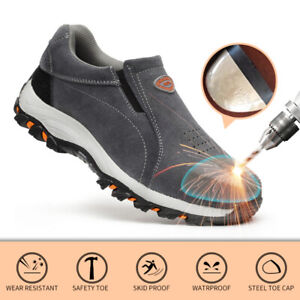 Men's Steel Toe Work Safety Cap Shoes Mesh Anti-Collision Slip On Boots