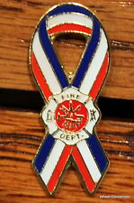 Firefighter Insigna Loga W Ribbon USA Proudly Display Jacket Hat Tie Tack Lapel