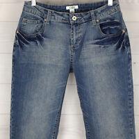 CATO Womens Sz 4 Embellished Mid Rise Blue Medium Wash Whisker Flare Denim Jeans