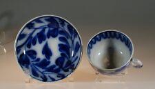 Antique Flow Blue Leaf and Vine #2 Tea Cup and Saucer, England c. 1860s