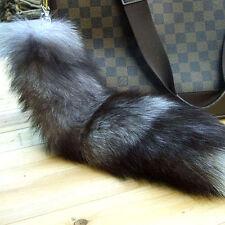 100% Real Silver Fox Fur Tail Keyring Tassel Bag Handbag Pendant Purse Accessory