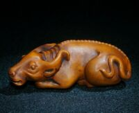 Japanese old boxwood hand carved cow bull ox statue Netsuke figurine table decor