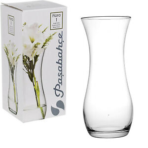 Pasabahce Flora Crystal Clear Glass Straight Fluted Round Gift Decor Flower Vase